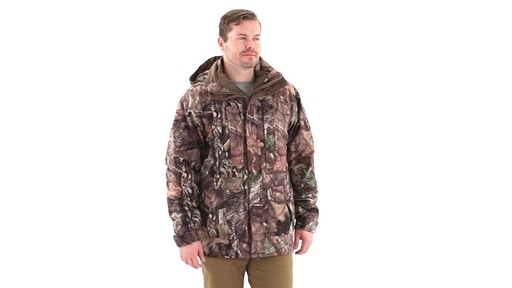 Guide Gear Steadfast 4-in-1 Hunting Parka 150 Gram Thinsulate Platinum with X-Static Waterproof 360 View - image 1 from the video