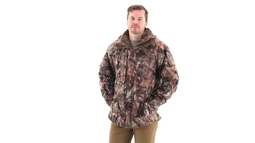 Guide Gear Steadfast 4-in-1 Hunting Parka 150 Gram Thinsulate Platinum with X-Static Waterproof 360 View - image 5 from the video