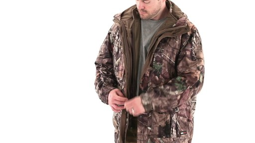 Guide Gear Steadfast 4-in-1 Hunting Parka 150 Gram Thinsulate Platinum with X-Static Waterproof 360 View - image 6 from the video