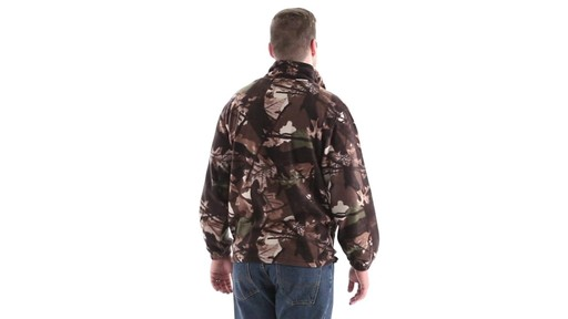 Guide Gear Men's Quarter Zip Camo Fleece Pullover Jacket 360 View - image 3 from the video