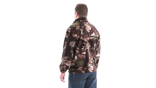 Guide Gear Men's Quarter Zip Camo Fleece Pullover Jacket 360 View - image 4 from the video