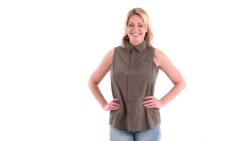 Guide Gear Women's Sleeveless Button-down Shirt 360 View - image 10 from the video