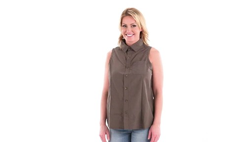 Guide Gear Women's Sleeveless Button-down Shirt 360 View - image 7 from the video