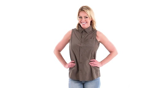 Guide Gear Women's Sleeveless Button-down Shirt 360 View - image 8 from the video