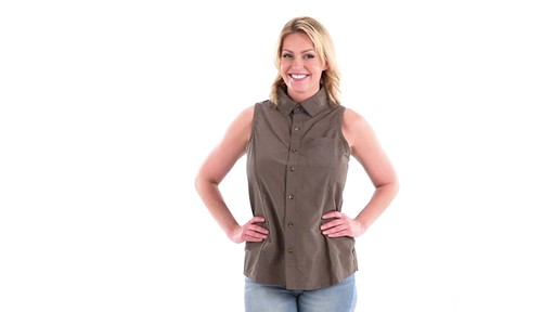 Guide Gear Women's Sleeveless Button-down Shirt 360 View - image 9 from the video