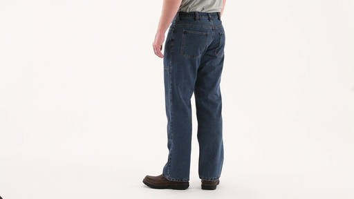 Guide Gear Men's Flannel-Lined Denim Stone Wash Jeans 360 View - image 5 from the video