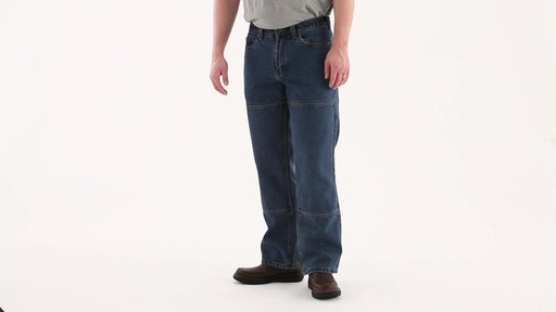 Guide Gear Men's Flannel-Lined Denim Stone Wash Jeans 360 View - image 7 from the video
