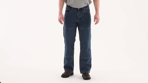 Guide Gear Men's Flannel-Lined Denim Stone Wash Jeans 360 View - image 8 from the video