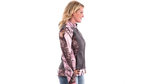 Guide Gear Women's Pink Camo Trim Soft Shell Jacket 360 View - image 1 from the video