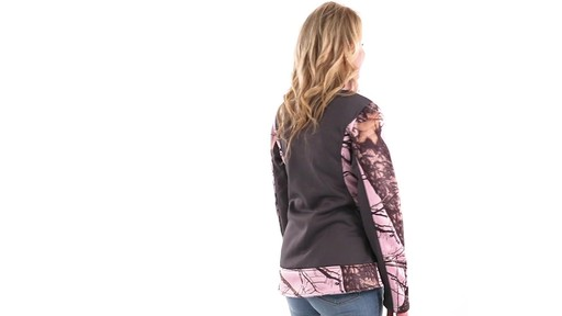 Guide Gear Women's Pink Camo Trim Soft Shell Jacket 360 View - image 2 from the video