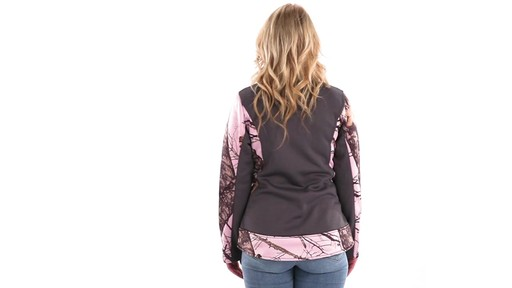 Guide Gear Women's Pink Camo Trim Soft Shell Jacket 360 View - image 3 from the video