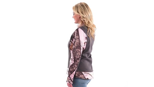 Guide Gear Women's Pink Camo Trim Soft Shell Jacket 360 View - image 4 from the video
