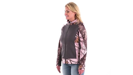 Guide Gear Women's Pink Camo Trim Soft Shell Jacket 360 View - image 5 from the video