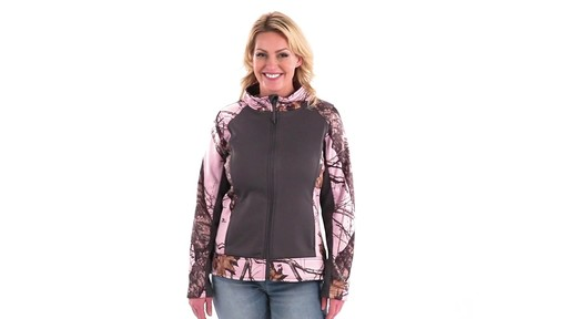 Guide Gear Women's Pink Camo Trim Soft Shell Jacket 360 View - image 6 from the video