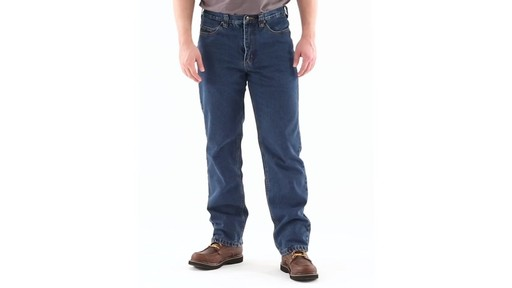 Guide Gear Men's Flannel-Lined Denim Jeans 360 View - image 8 from the video