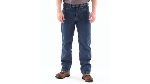 Guide Gear Men's Flannel-Lined Denim Jeans 360 View - image 9 from the video