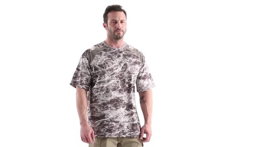 Guide Gear Men's Performance Fishing Short Sleeve Shirt Mossy Oak Elements Agua 360 View - image 1 from the video
