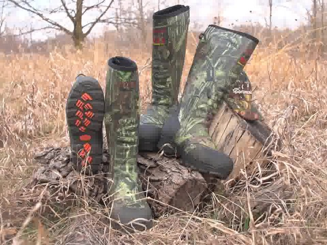 Men's Guide Gear® Rubber / Neoprene Universal Hunting Boots Mossy Oak Break-Up Infinity® - image 10 from the video