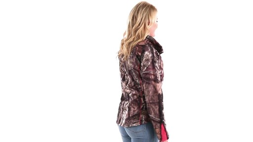 Guide Gear Women's Mossy Oak Break-Up Country Trim Soft Shell Jacket 360 View - image 2 from the video