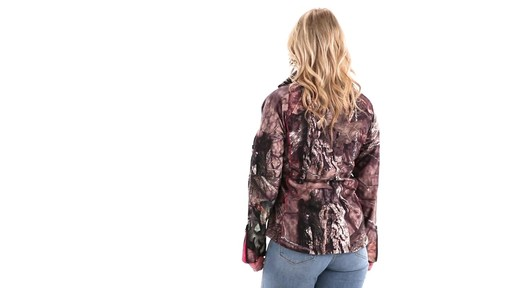Guide Gear Women's Mossy Oak Break-Up Country Trim Soft Shell Jacket 360 View - image 3 from the video