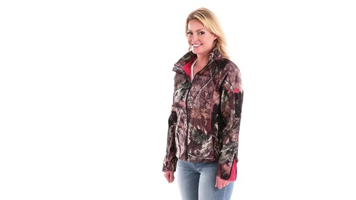 Guide Gear Women's Mossy Oak Break-Up Country Trim Soft Shell Jacket 360 View - image 4 from the video