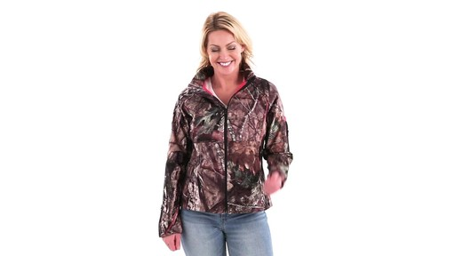 Guide Gear Women's Mossy Oak Break-Up Country Trim Soft Shell Jacket 360 View - image 5 from the video