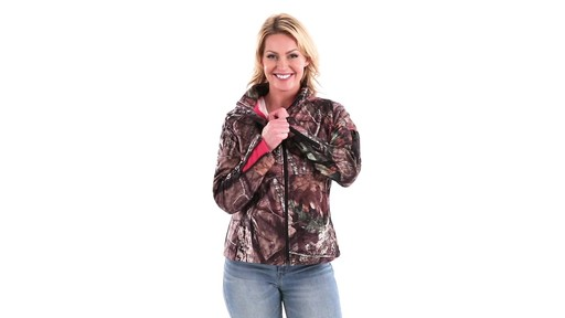 Guide Gear Women's Mossy Oak Break-Up Country Trim Soft Shell Jacket 360 View - image 6 from the video
