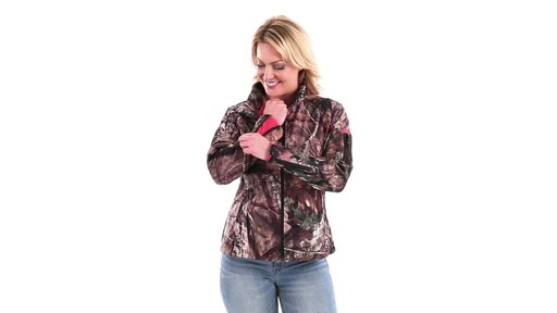 Guide Gear Women's Mossy Oak Break-Up Country Trim Soft Shell Jacket 360 View - image 7 from the video