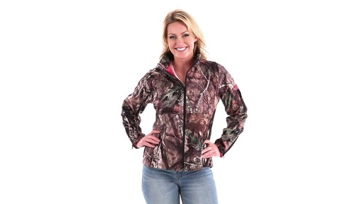 Guide Gear Women's Mossy Oak Break-Up Country Trim Soft Shell Jacket 360 View - image 8 from the video