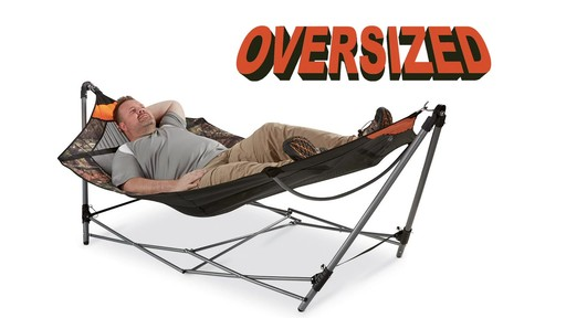 Guide Gear Oversized Portable Folding Hammock Mossy Oak Break-Up COUNTRY 350-lb. Capacity - image 1 from the video