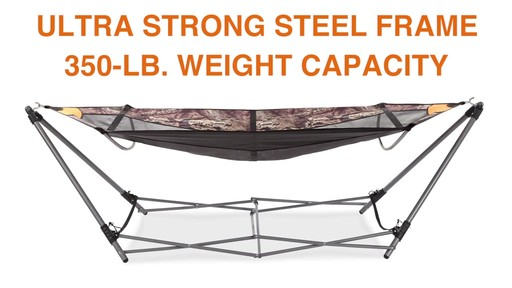 Guide Gear Oversized Portable Folding Hammock Mossy Oak Break-Up COUNTRY 350-lb. Capacity - image 5 from the video