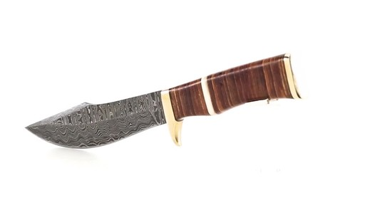 Damascus Leather Stacked Bowie Knife 5.25