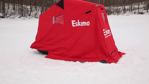 Eskimo Quickflip 1 Sled Ice Fishing Shelter with Folding Ice Fishing Chair - image 10 from the video