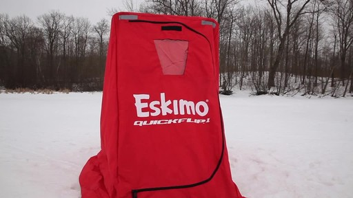 Eskimo Quickflip 1 Sled Ice Fishing Shelter with Folding Ice Fishing Chair - image 2 from the video