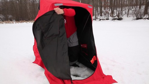 Eskimo Quickflip 1 Sled Ice Fishing Shelter with Folding Ice Fishing Chair - image 3 from the video