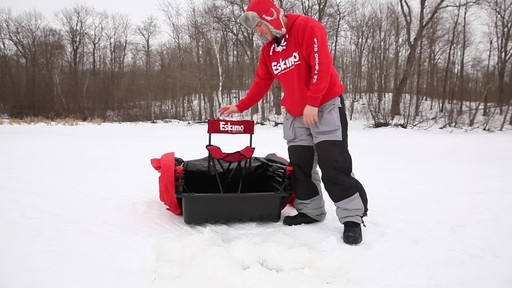 Eskimo Quickflip 1 Sled Ice Fishing Shelter with Folding Ice Fishing Chair - image 4 from the video