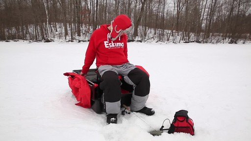 Eskimo Quickflip 1 Sled Ice Fishing Shelter with Folding Ice Fishing Chair - image 6 from the video