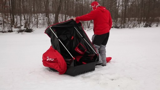 Eskimo Quickflip 1 Sled Ice Fishing Shelter with Folding Ice Fishing Chair - image 9 from the video